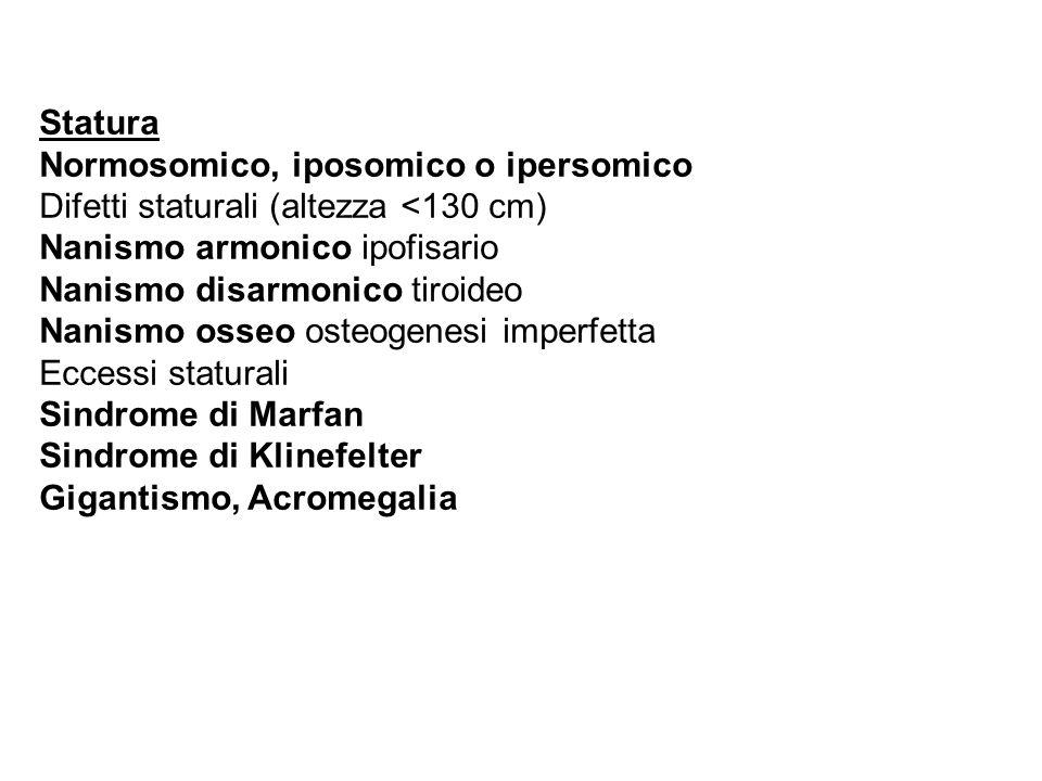 Statura Normosomico, iposomico o ipersomico. Difetti staturali (altezza <130 cm) Nanismo armonico ipofisario.