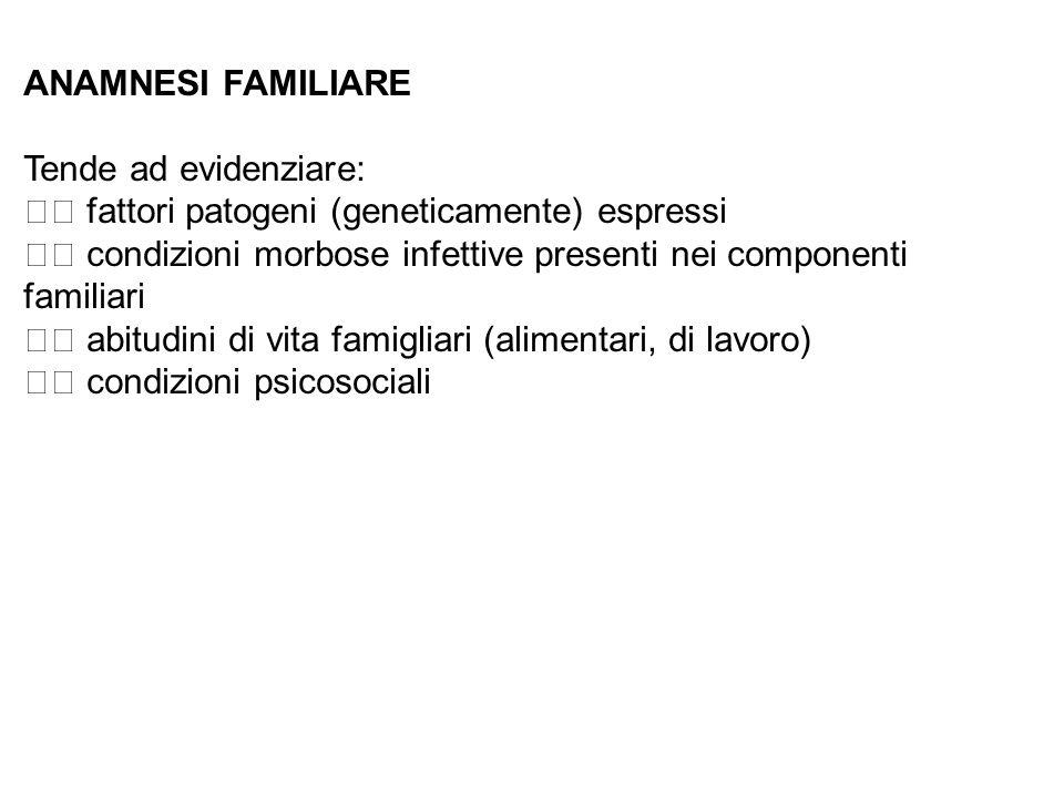 ANAMNESI FAMILIARE Tende ad evidenziare:  fattori patogeni (geneticamente) espressi.