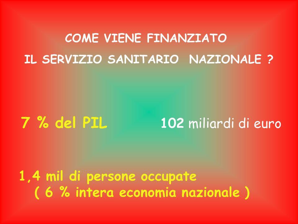 IL SERVIZIO SANITARIO NAZIONALE ( 6 % intera economia nazionale )