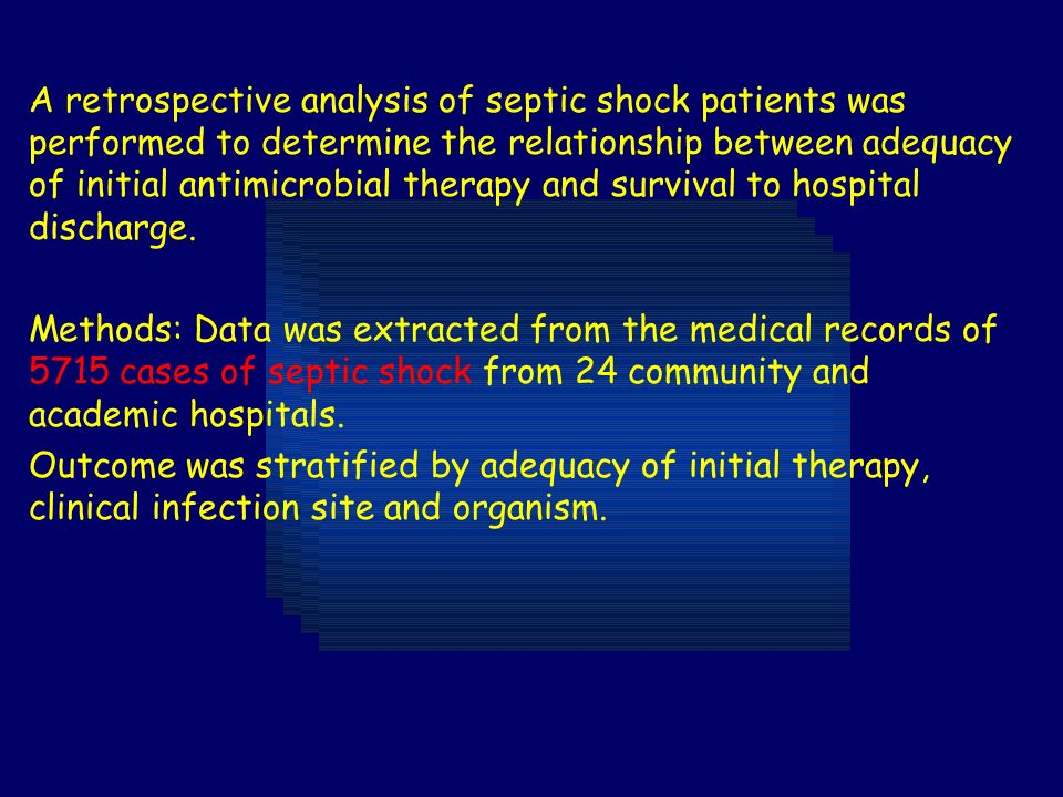A retrospective analysis of septic shock patients was performed to determine the relationship between adequacy of initial antimicrobial therapy and survival to hospital discharge.