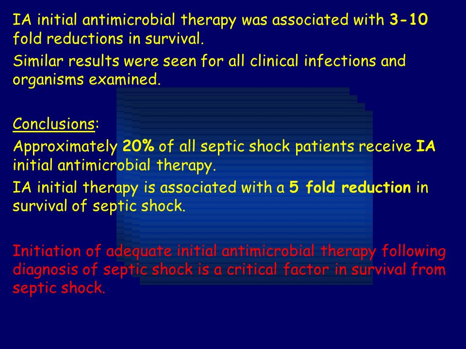 IA initial antimicrobial therapy was associated with 3-10 fold reductions in survival.