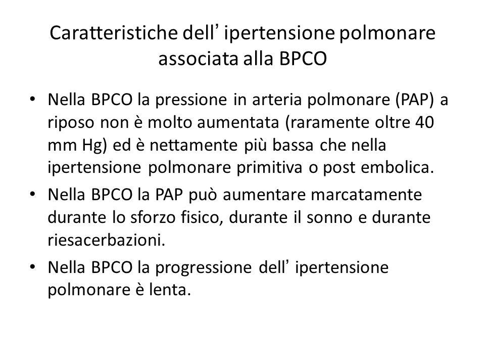 Caratteristiche dell' ipertensione polmonare associata alla BPCO