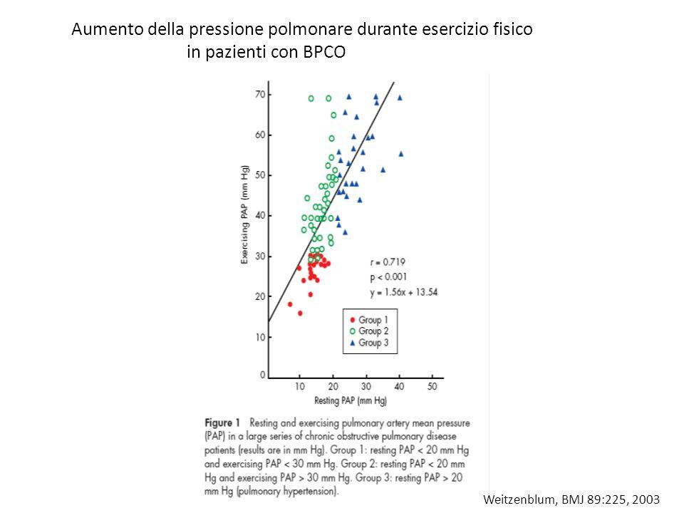 Aumento della pressione polmonare durante esercizio fisico