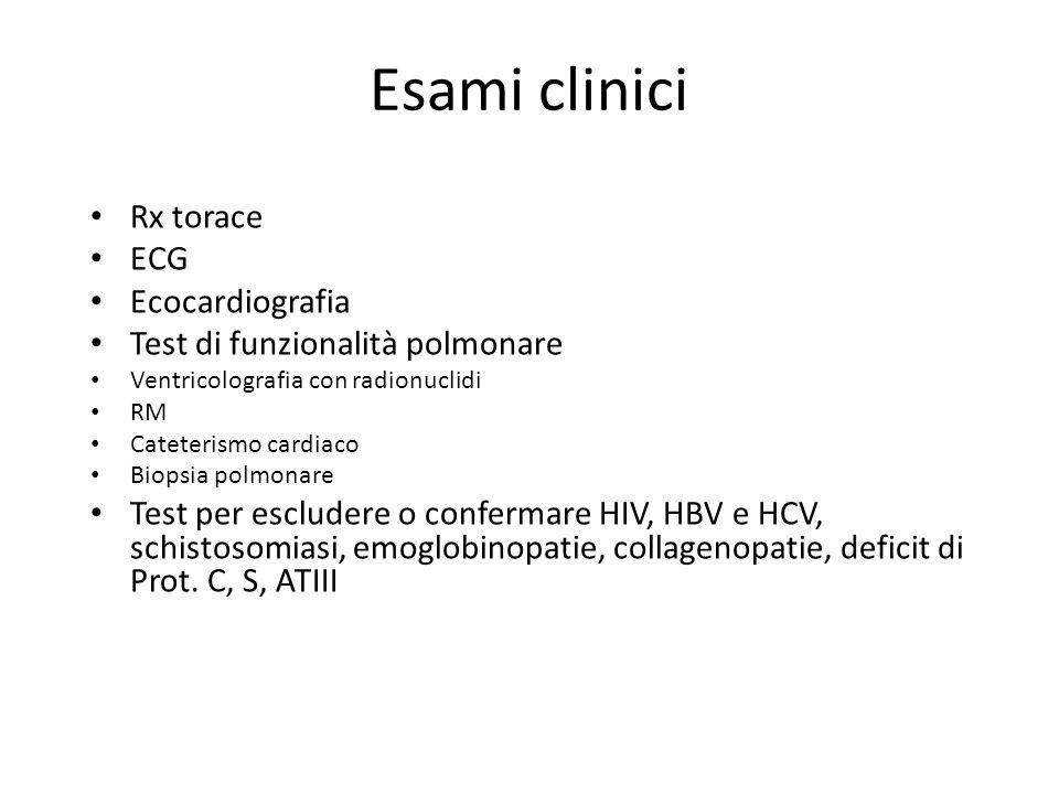 Esami clinici Rx torace ECG Ecocardiografia