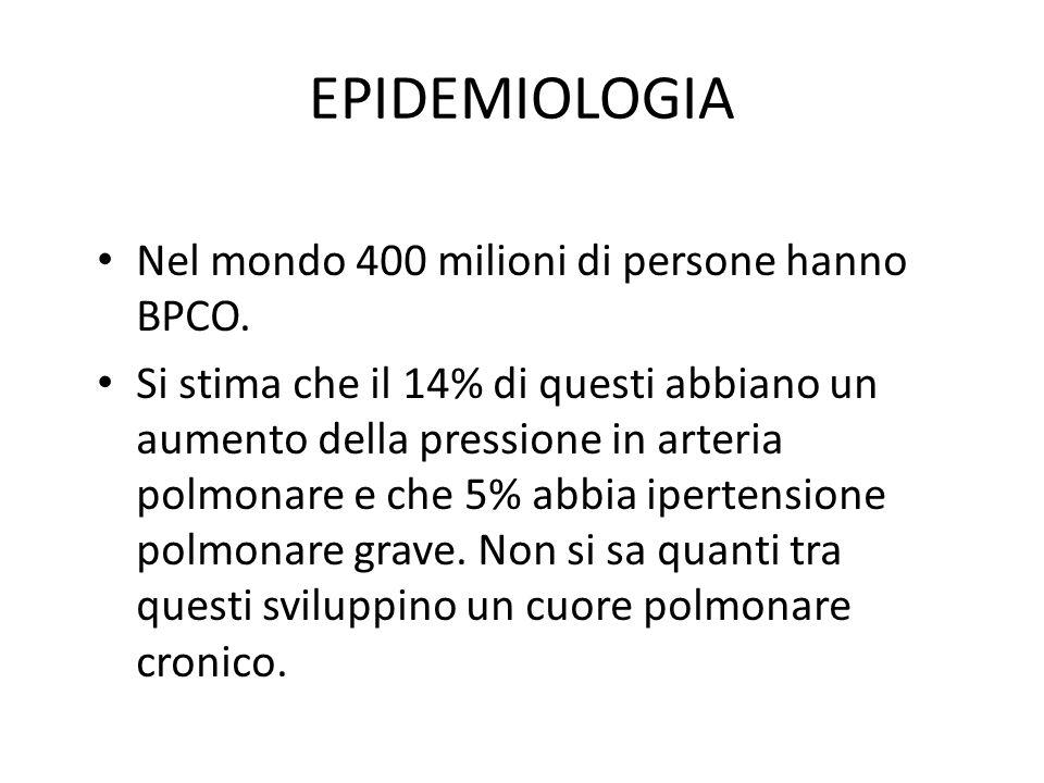 EPIDEMIOLOGIA Nel mondo 400 milioni di persone hanno BPCO.