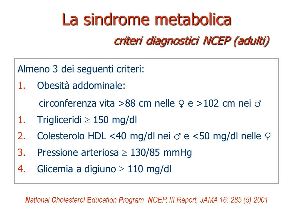 La sindrome metabolica criteri diagnostici NCEP (adulti)