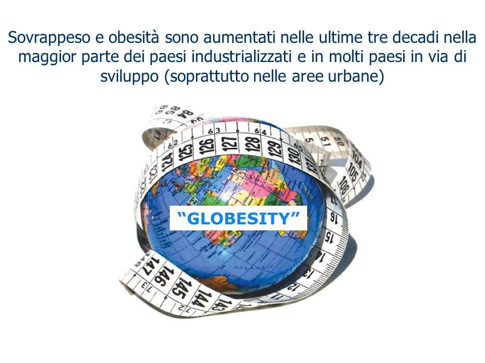 Sovrappeso e obesità sono aumentati nelle ultime tre decadi nella maggior parte dei paesi industrializzati e in molti paesi in via di sviluppo (soprattutto nelle aree urbane)