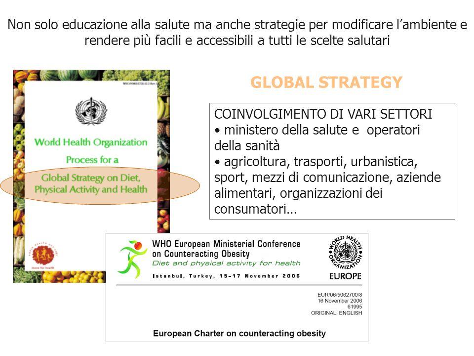 Non solo educazione alla salute ma anche strategie per modificare l'ambiente e rendere più facili e accessibili a tutti le scelte salutari