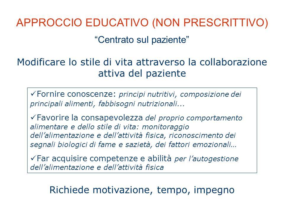 APPROCCIO EDUCATIVO (NON PRESCRITTIVO)