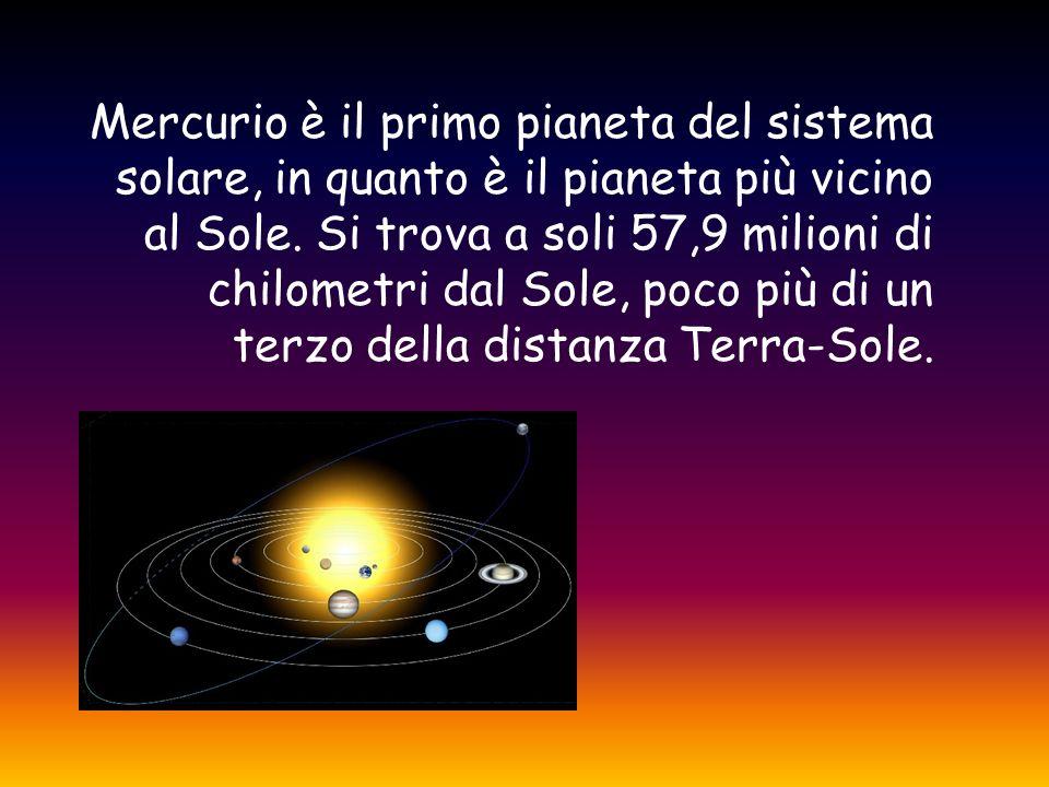 Mercurio è il primo pianeta del sistema solare, in quanto è il pianeta più vicino al Sole.