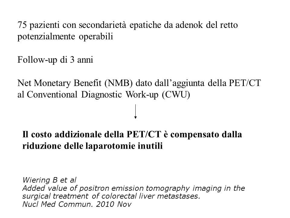 75 pazienti con secondarietà epatiche da adenok del retto potenzialmente operabili