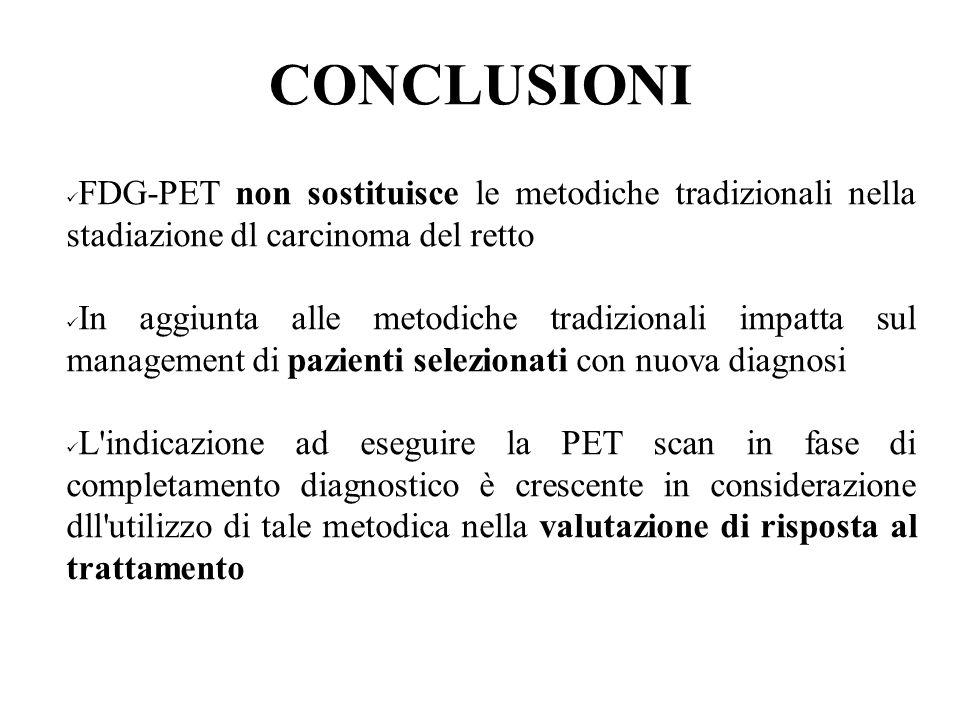 CONCLUSIONI FDG-PET non sostituisce le metodiche tradizionali nella stadiazione dl carcinoma del retto.
