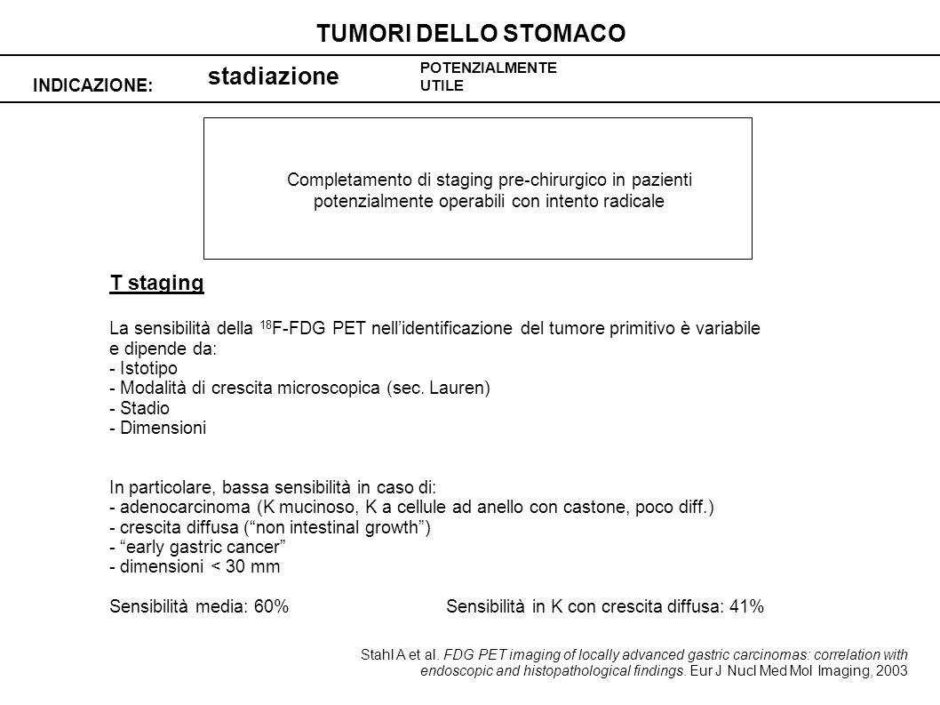 TUMORI DELLO STOMACO stadiazione T staging INDICAZIONE:
