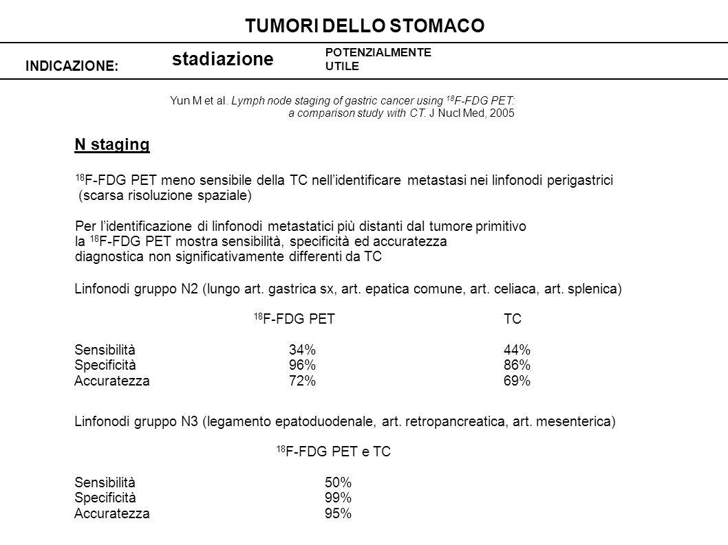 TUMORI DELLO STOMACO stadiazione N staging INDICAZIONE: