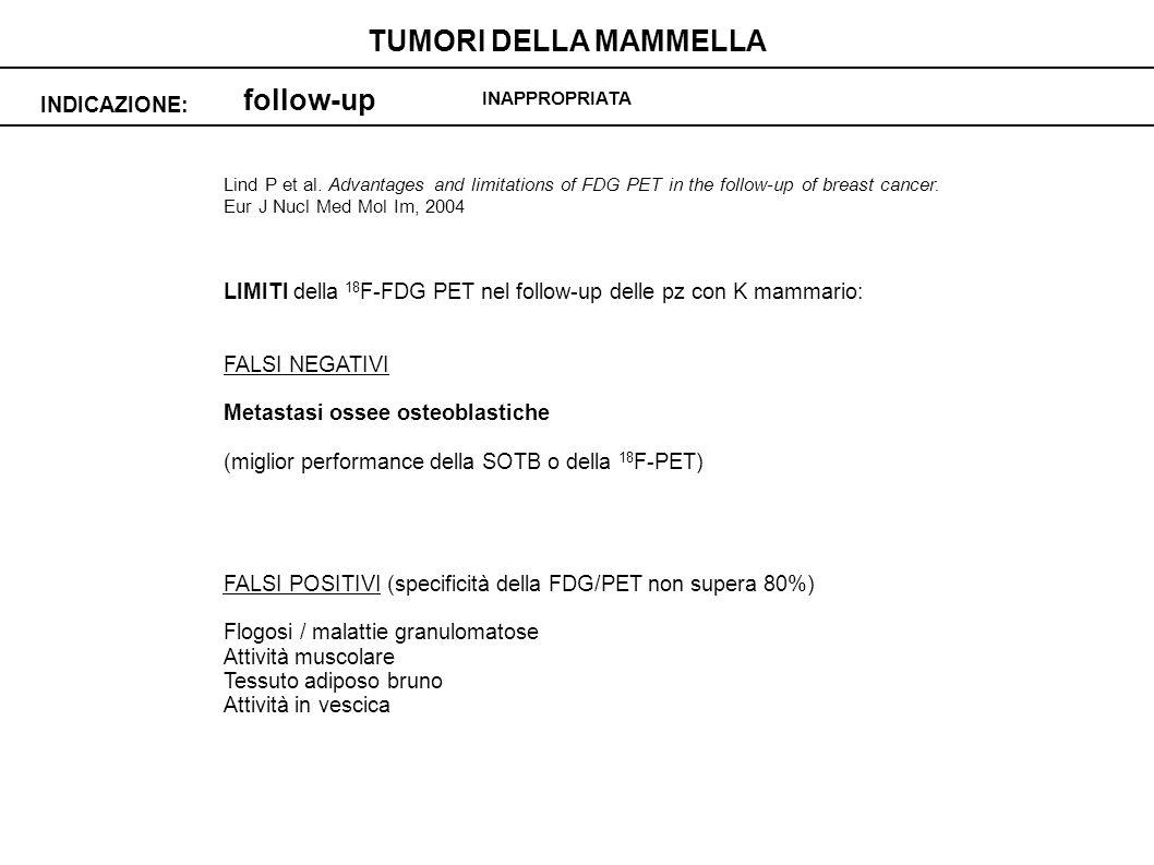 TUMORI DELLA MAMMELLA follow-up INDICAZIONE: