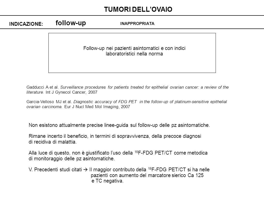 TUMORI DELL'OVAIO follow-up INDICAZIONE: