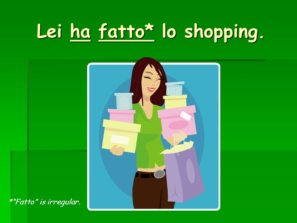 Lei ha fatto* lo shopping.