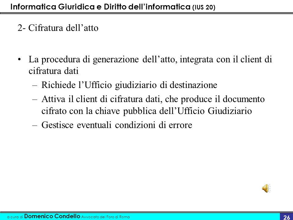 2- Cifratura dell'attoLa procedura di generazione dell'atto, integrata con il client di cifratura dati.