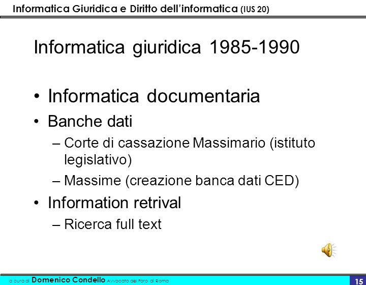 Informatica giuridica 1985-1990
