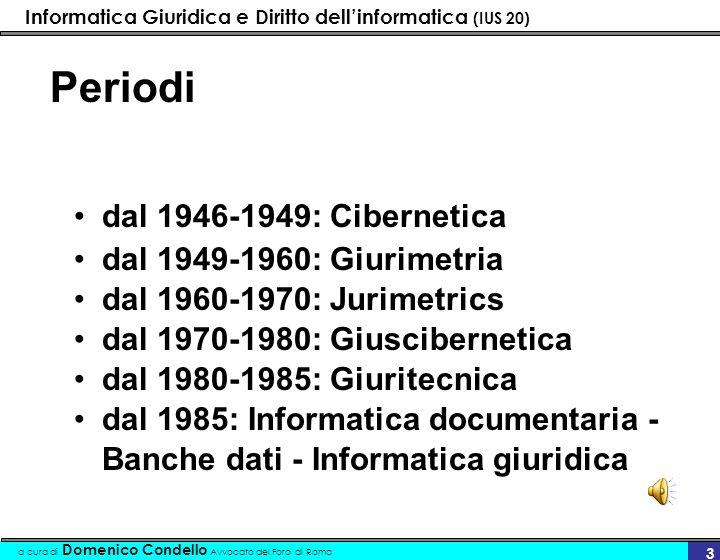 Periodi dal 1946-1949: Cibernetica dal 1949-1960: Giurimetria