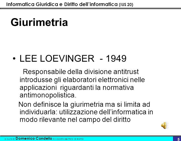 Giurimetria LEE LOEVINGER - 1949