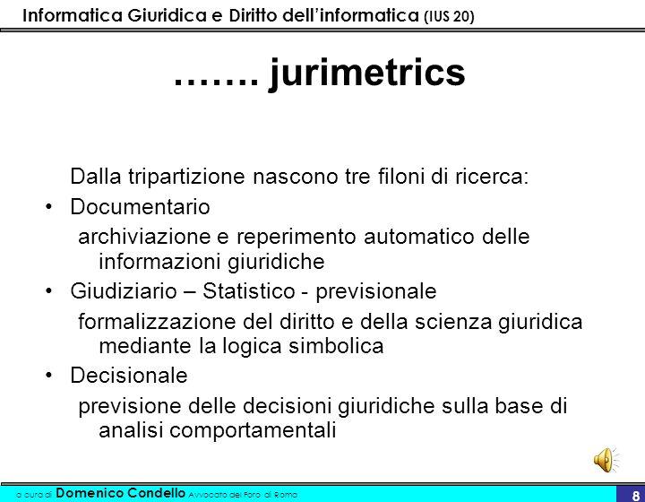……. jurimetrics Dalla tripartizione nascono tre filoni di ricerca: