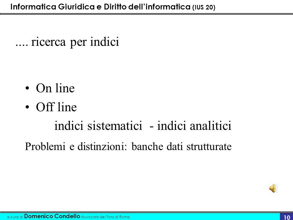 indici sistematici - indici analitici