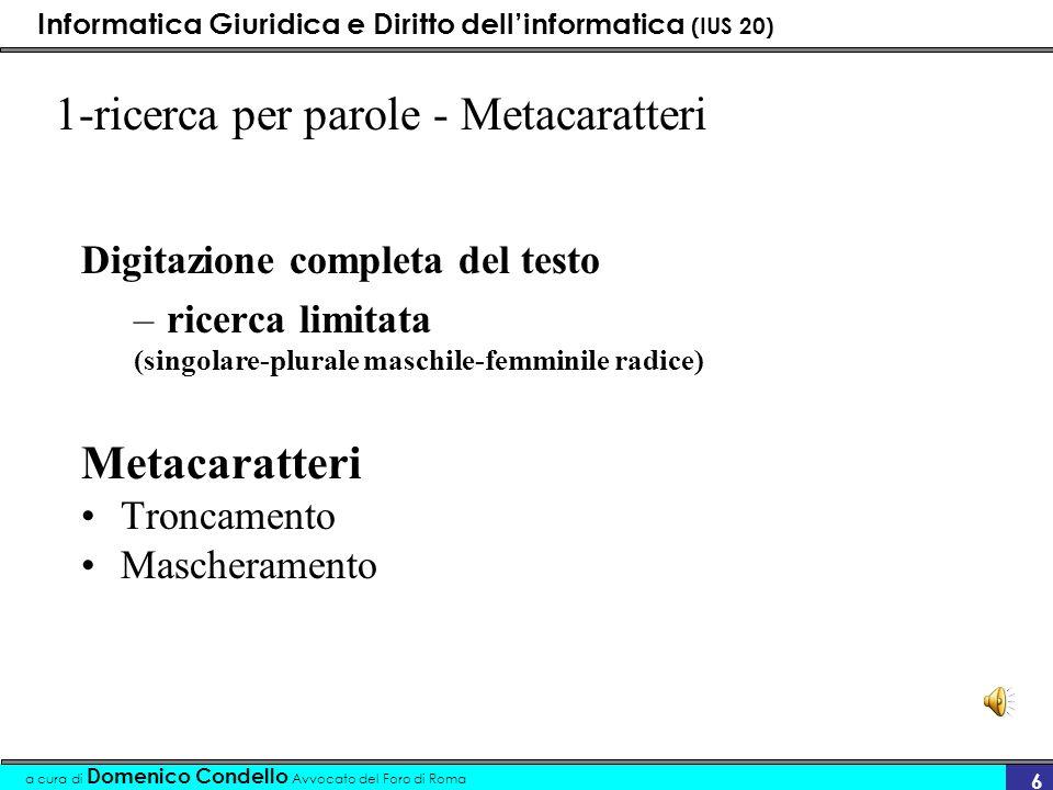 1-ricerca per parole - Metacaratteri