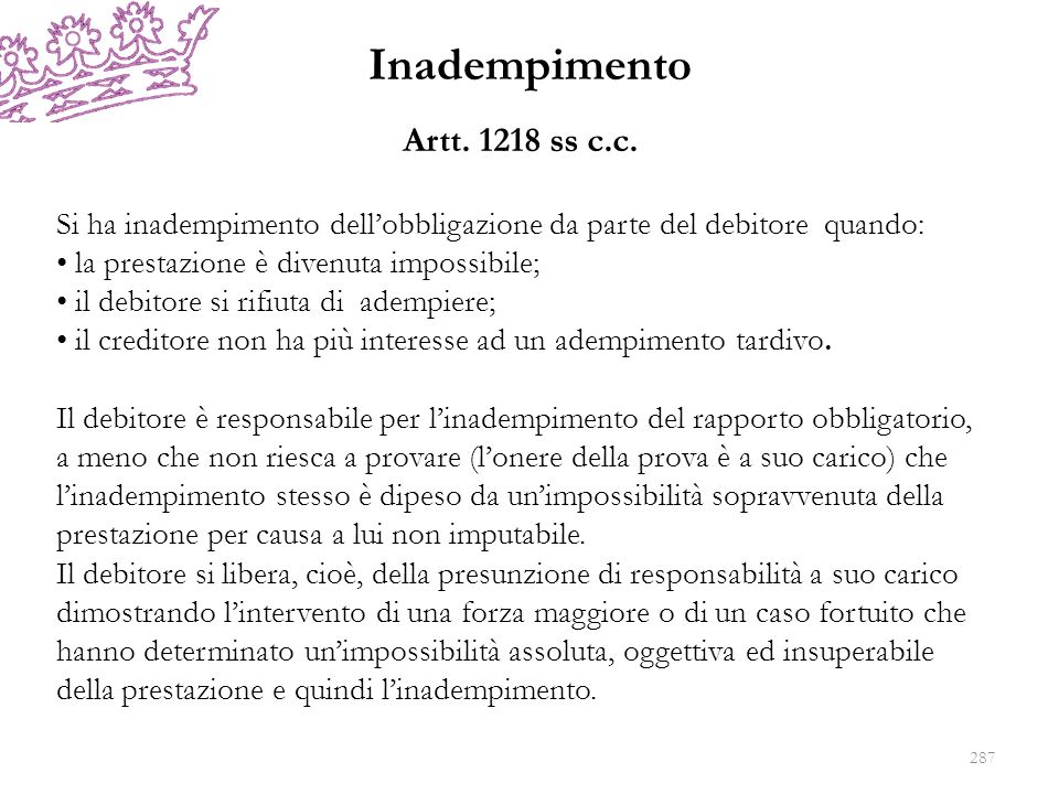 Inadempimento Artt. 1218 ss c.c.