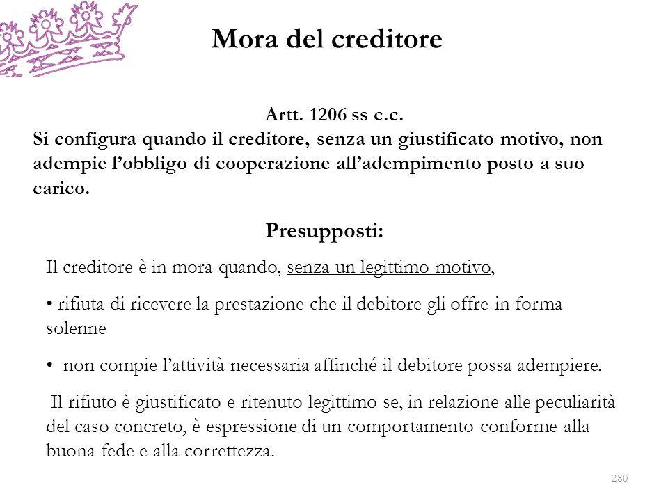 Mora del creditore Presupposti: Artt. 1206 ss c.c.