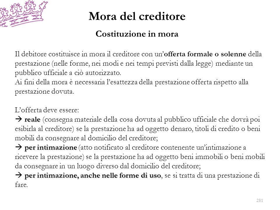 Mora del creditore Costituzione in mora