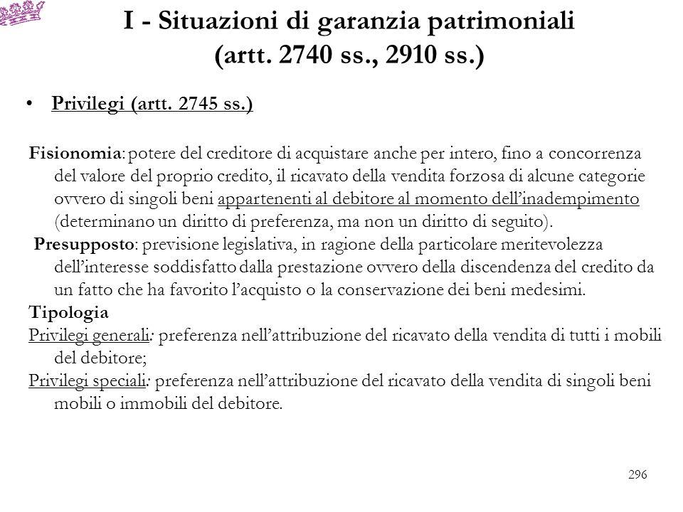 I - Situazioni di garanzia patrimoniali (artt. 2740 ss., 2910 ss.)