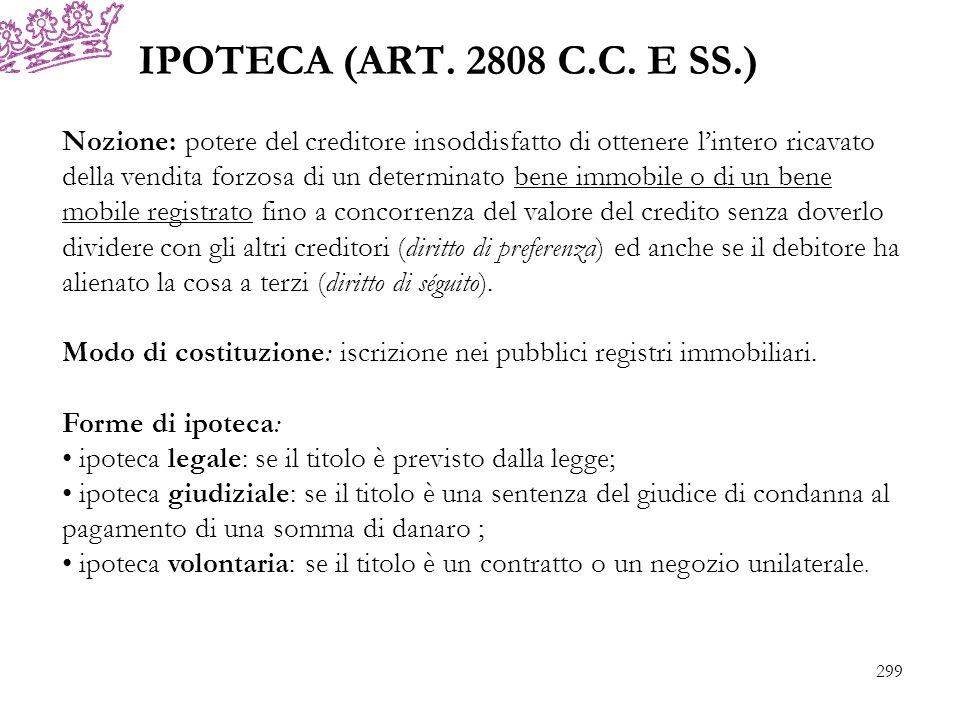 IPOTECA (ART. 2808 C.C. E SS.)