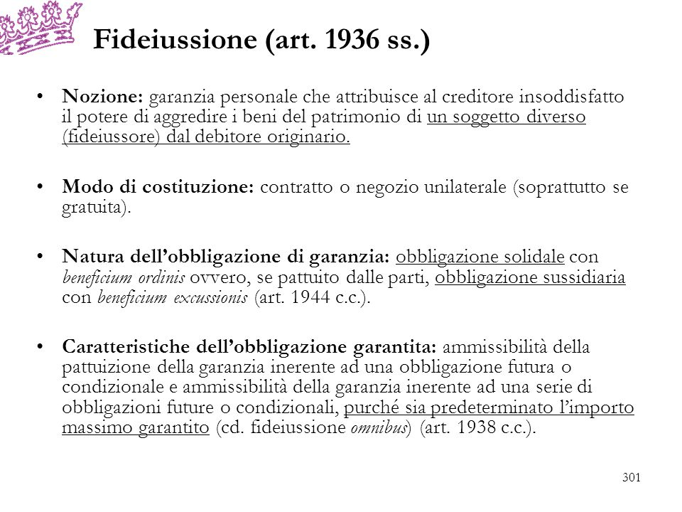 Fideiussione (art. 1936 ss.)