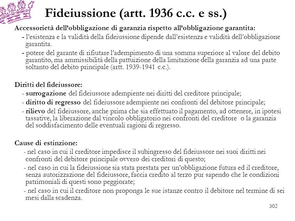 Fideiussione (artt. 1936 c.c. e ss.)