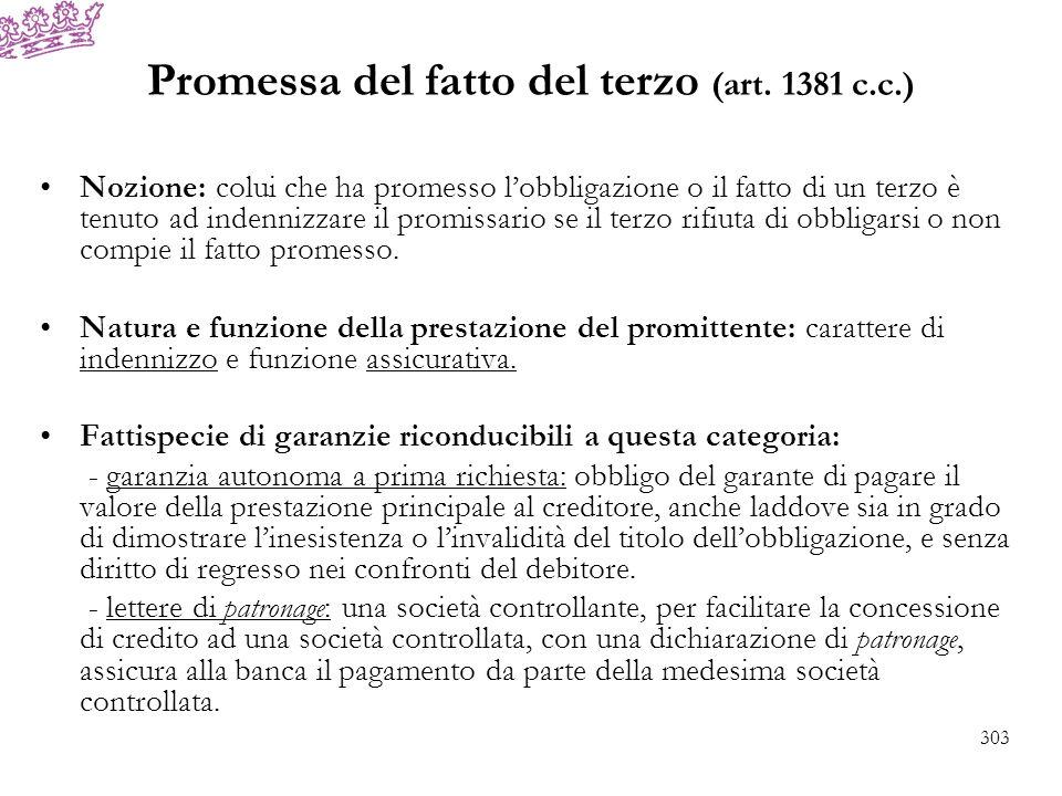Promessa del fatto del terzo (art. 1381 c.c.)