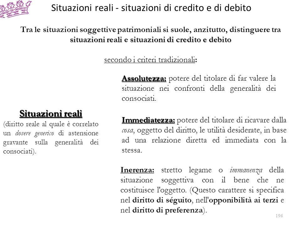 Situazioni reali - situazioni di credito e di debito