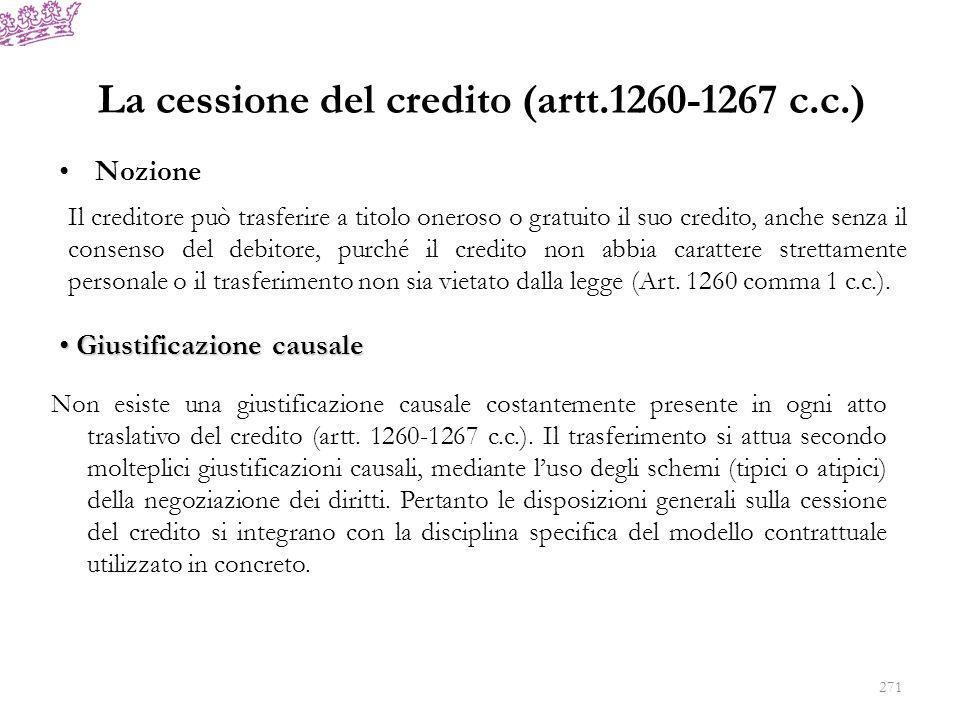 La cessione del credito (artt.1260-1267 c.c.)