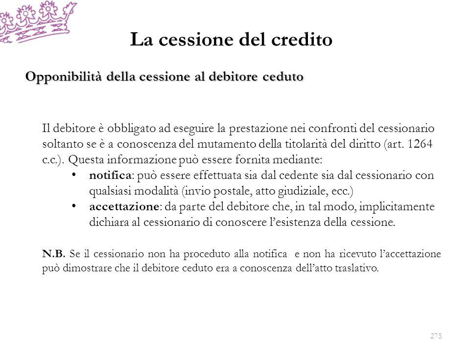 La cessione del credito