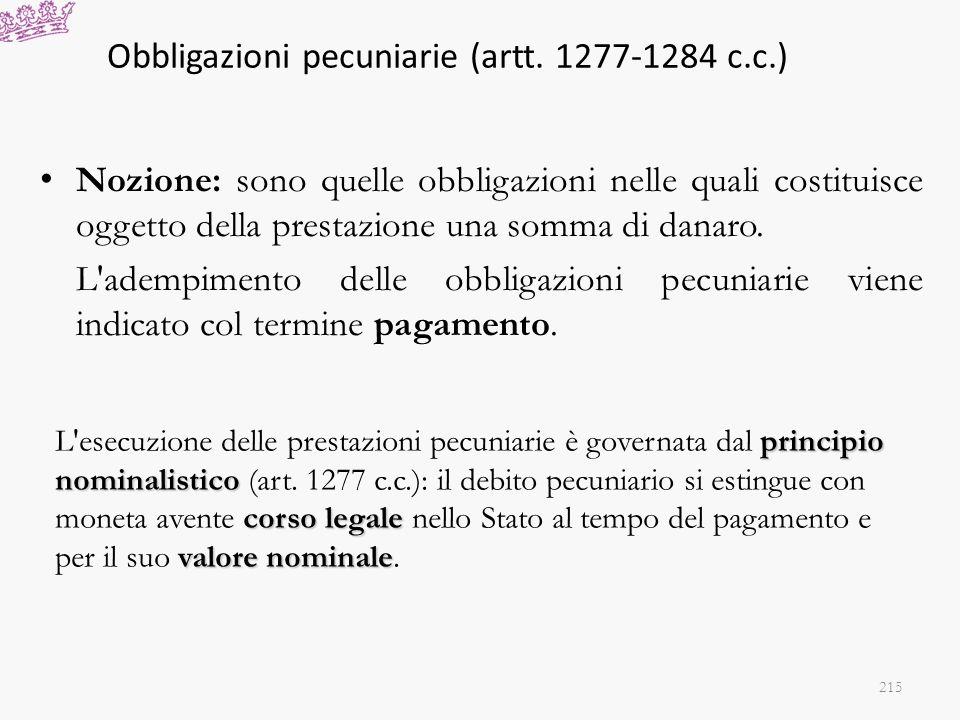Obbligazioni pecuniarie (artt. 1277-1284 c.c.)