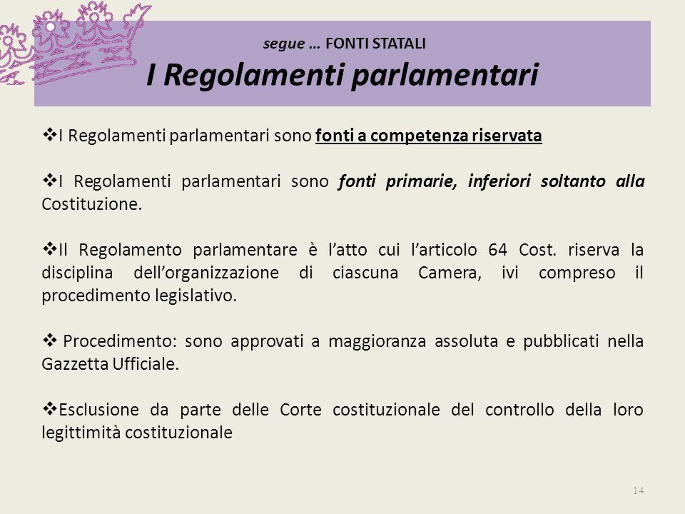segue … FONTI STATALI I Regolamenti parlamentari
