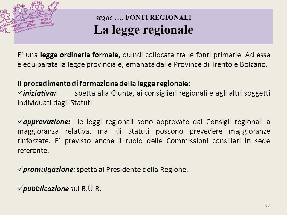 segue …. FONTI REGIONALI La legge regionale