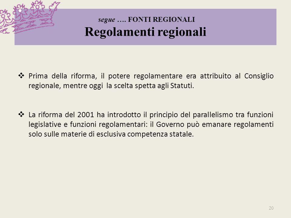 segue …. FONTI REGIONALI Regolamenti regionali