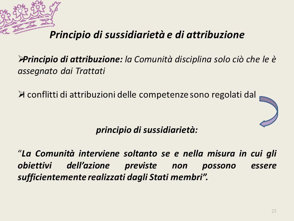 Principio di sussidiarietà e di attribuzione