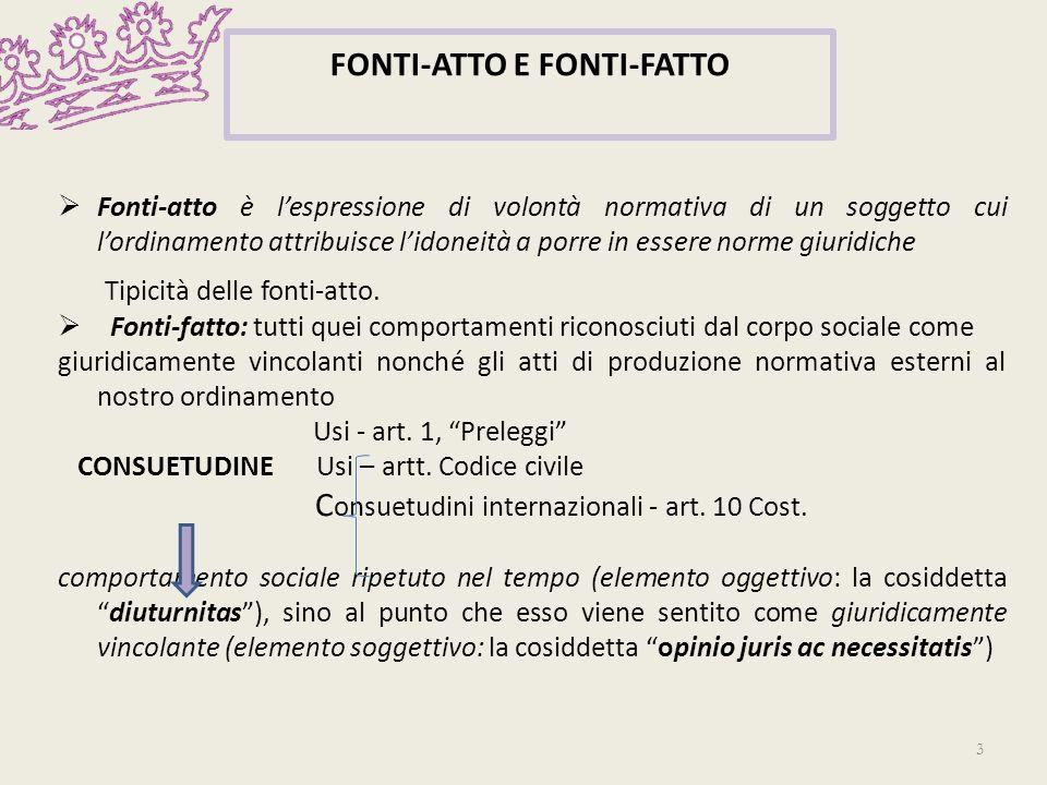 FONTI-ATTO E FONTI-FATTO