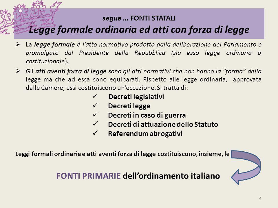 FONTI PRIMARIE dell'ordinamento italiano