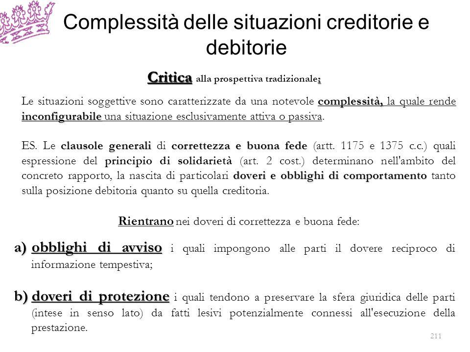 Complessità delle situazioni creditorie e debitorie