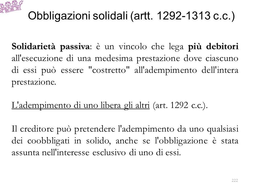 Obbligazioni solidali (artt. 1292-1313 c.c.)