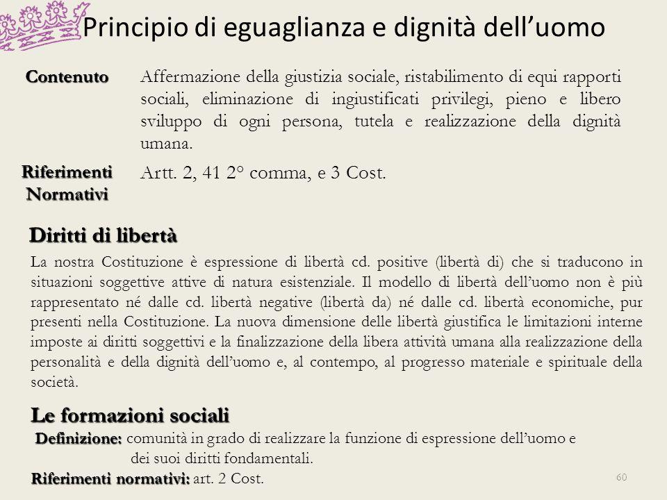 Principio di eguaglianza e dignità dell'uomo