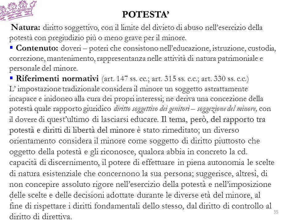 POTESTA' Natura: diritto soggettivo, con il limite del divieto di abuso nell'esercizio della potestà con pregiudizio più o meno grave per il minore.